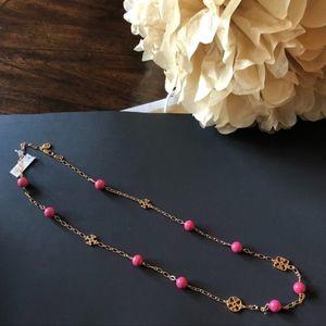 "NWT $165 TORY BURCH ""Evie"" Logo Rosary Necklace"
